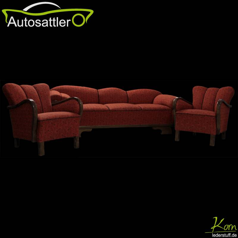 sattlerei korn projekte archiv 50er jahre cocktailcouch mit sesseln. Black Bedroom Furniture Sets. Home Design Ideas